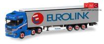 Herpa 308526 Scania CS HD 6x2 nyergesvontató, ponyvás félpótkocsival - Eurolink (S) (H0)