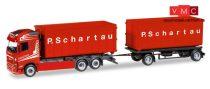 Herpa 308571 Volvo FH Gl. legördíthető konténerszállító teherautó, pótkocsival - P. Sc