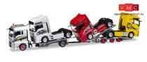 Herpa 308595 MAN TGX XLX Euro 6c teherautószállító, pótkocsival, rakományként MAN nyerge