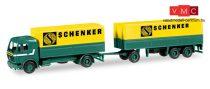 Herpa 308687 Mercedes-Benz NG 80 ponyvás teherautó, pótkocsival - Schenker (H0)