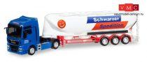 Herpa 308885 MAN TGX XXL Euro 6c nyergesvontató, silótartályos félpótkocsival - Schwarzer