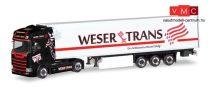 Herpa 309042 Scania CS HD nyergesvontató, hűtődobozos félpótkocsival - Weser Trans (H0)