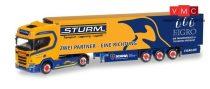 Herpa 309325 Scania CR HD nyergesvontató, hűtődobozos félpótkocsival - Sturm / Eigro (H0)