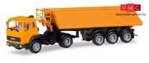 Herpa 309356 Iveco Magirus nyergesvontató billencs félpótkocsival, kommunálsárga (H0)