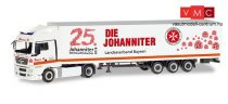 Herpa 309851 MAN TGX XLX nyergesvontató, dobozos félpótkocsival - Johanniter LV Bayern / Wei