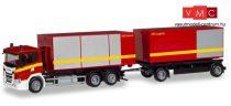 Herpa 310017 Scania CG 17 legördíthető konténerszállító tűzoltó teherautó - Feuerwehr