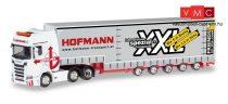 Herpa 310109 Scania CS 20 HD 6x2 nyergesvontató, ponyvás Volumen félpótkocsival - Hofmann (
