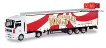 Herpa 310154 MAN TGA XXL nyergesvontató, ponyvás félpótkocsival - Zirkus Charles Knie (H0)