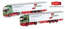 Herpa 310215 Volvo és MAN nyergesvontató, ponyvás félpótkocsival - 80 Jahre Spedition Wand