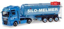 Herpa 310574 MAN TGX XXL Euro nyergesvontató, silótartályos félpótkocsival - Melmer/ Klett