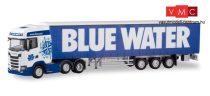Herpa 310659 Scania CS 20 HD 6×2 nyergesvontató, ponyvás félpótkocsival - Blue Water (DK)