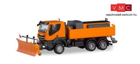 Herpa 310727 Iveco Trakker 6x6 platós teherautó hótolóval és útszóró adapterrel (H0)
