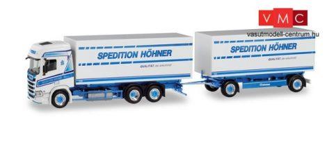 Herpa 311199 Scania CR HD csereszekrényszállító teherautó pótkocsival, Höhner / Tinka (H