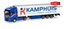 Herpa 311311 MAN TGX XXL nyergesvontató, hűtődobozos félpótkocsival, Kamphuis (NL) (H0)