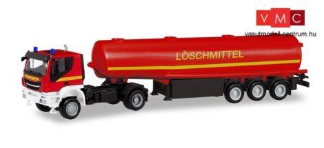 Herpa 311328 Iveco Trakker 4x4 nyergesvontató, tűzoltó tartályfélpótkocsival - Feuerwehr