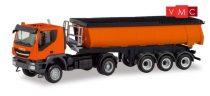 Herpa 311373 Iveco Trakker 4x4 nyergesvontató, billencs félpótkocsival, kommunálsárga (H0)