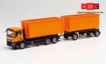 Herpa 311380 MAN TGX NN legördíthető konténerszállító teherautó pótkocsival, kommunál
