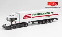Herpa 312080 Scania csőrös nyergesvontató, ponyvás félpótkocsival - Hungarocamion (H0)
