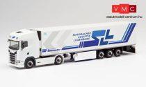 Herpa 312189 Scania CS20 HD nyergesvontató, hűtődobozos félpótkocsival - SLL / Schumacher