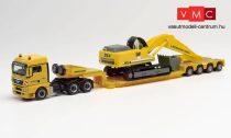 Herpa 312301 MAN TGX XLX nyergesvontató, munkagépszállító félpótkocsival, lánctalpas Li