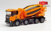 Herpa 312424 Scania CG17 4-tengelyes betonkeverő, kommunálsárga (H0)