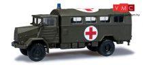Herpa 744577 MAN 630 dobozos katonai teherautó, Vöröskereszt (H0)