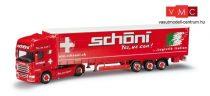 Herpa 912631 Scania R TL nyergesvontató, ponyvás félpótkocsival - Schöni (CH), H0