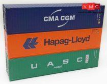 Igra Model 98010006 Konténer-készlet, 3 db 40 lábas konténer - CMA-CGM, Hapag Lloyd, UASC (