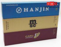 Igra Model 98010008 Konténer-készlet, 3 db 40 lábas konténer - Hanjin, MSC, Caru (H0)