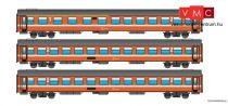 Jägerndorfer JC90304 Személykocsi készlet, 3-részes négytengelyes UIC-X 2. osztály, naran