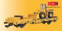 Kibri 26274 Alacsony oldalfalú vasútüzemi teherkocsi, GleisBau, gumikerekes munkagéppel (H0