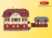 kibri 37112 N Eisenbahner-Wohnhaus mit Nebengebäude inkl. Hausbeleuchtungs-Startset, Funktionsbausatz