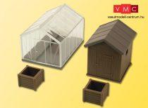 Kibri 38144 Deko-Set: Üvegház és faház komposzt tárolóval (2db)