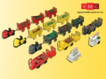 Kibri 38646 Elektromos állomási kofferkulik három pótkocsival, három különböző színbe