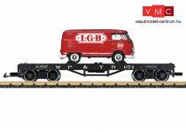 LGB 40597 Amerikai négytengelyes pőrekocsi, VW T1 furgonnal, WP&Y RR (E3) (G)