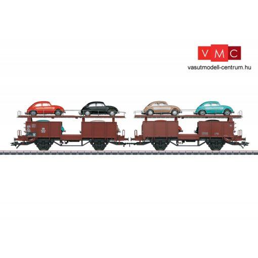 Märklin 46138 Autószállító teherkocsi-pár, Offs 59, 8 db Volkswagen Käfer (bogár) személyautóval, DB (E3) (H0) - AC