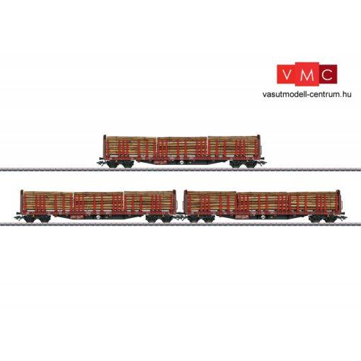 Märklin 47047 Rönkszállító négytengelyes rakoncás teherkocsi-készlet, 3-részes Roos 63