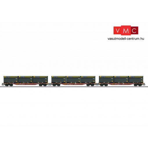 Märklin 47091 Konténerszállító négytengelyes teherkocsi-készlet, 3-részes Sgns, WoodTainer XXL konténerekkel, Touax (E6) (H0) - AC