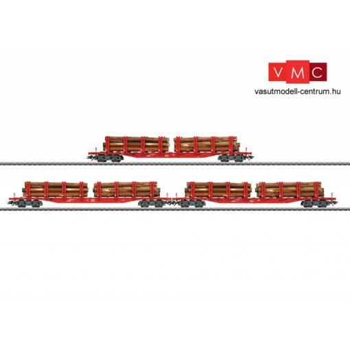 Märklin 47144 Rakoncás négytengelyes teherkocsi-készlet, 3-részes Snps, rönkfa rakománnyal, DB-AG (E6) (H0) - AC
