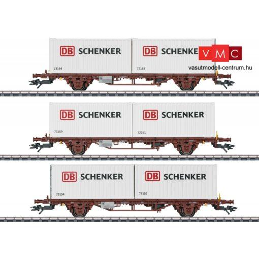 Märklin 47725 Konténerszállító teherkocsi-készlet, 3-részes Lgs, 6 db 20 lábas DB Schenker konténerrel, NSB (E6) (H0) - AC