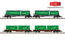 Marklin 82533 Teherkocsi-készlet, 4-részes négytengelyes tartálykocsi (2 db) és zsebeskocsi (2 db), Green Cargo (E6) (Z)