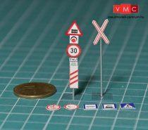 Papírbakter 500 Közúti jelzőtáblák, vasúti átjáró készlet, (N)