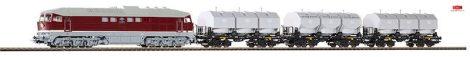 Piko 58130 Dízelmozdony BR 131, 3 db mészedényszállító négytengelyes teherkocsival, DR (