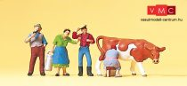 Preiser 10044 Szolgálólányok és szolga tehénfejésnél (H0)