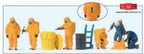 Preiser 10732 Tűzoltók teljes vegyvédelmi védőfelszerelésben - narancs színben (H0)