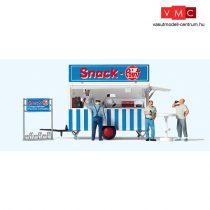 Preiser 10749 Büfé utánfutó, eladókkal és vásárlókkal - Snack Point (H0)