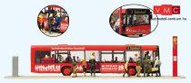 Preiser 13009 Városi buszmegálló - Solaris Urbino (Neustadt), utasokkal (H0)