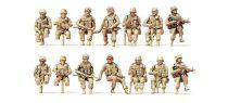 Preiser 16564 Amerikai ülő és sofőr katonák, modern US Army (H0)