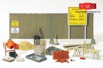 Preiser 17177 Betonkeverő, kerítés, téglafal és szerszámok (H0)