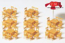 Preiser 17201 8 asztal, 48 szék, 1 napernyő, natúrfa színben (H0)